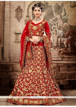 Fab Red And Beige Net Designer Lehenga Choli