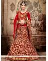 Fab Red And Beige Net Designer Lehenga Choli