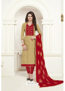 Beige Embroidered Designer Churidar Salwar Suit