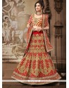Red And Beige Net Wedding Lehenga Choli