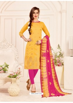 Yellow Embroidered Designer Banarasi Silk Churidar Salwar Suit