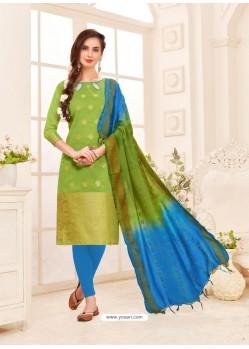 Parrot Green Embroidered Designer Banarasi Silk Churidar Salwar Suit