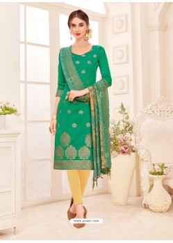 Aqua Mint Embroidered Designer Banarasi Silk Churidar Salwar Suit