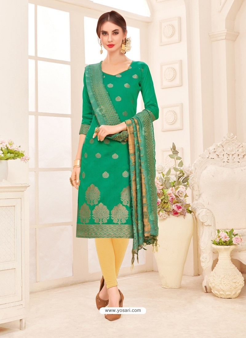 97c6b25881 New Aqua Mint Embroidered Designer Banarasi Silk Churidar Salwar Suit