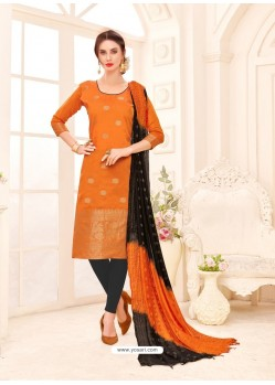 Orange Embroidered Designer Banarasi Silk Churidar Salwar Suit