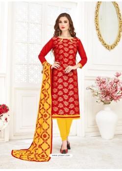 Red Embroidered Designer Banarasi Jacquard Churidar Salwar Suit