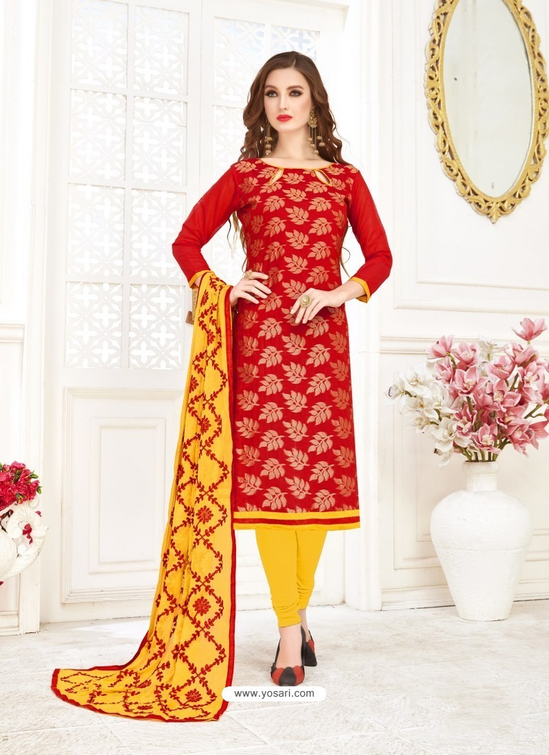 Buy Red Embroidered Designer Banarasi Jacquard Churidar Salwar Suit Churidar Salwar Suits