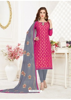 Rose Red Embroidered Designer Banarasi Jacquard Churidar Salwar Suit