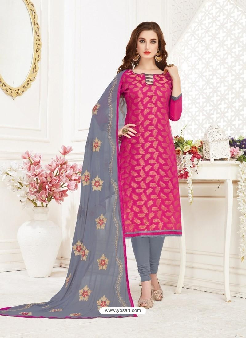 56949e1828 New Rose Red Embroidered Designer Banarasi Jacquard Churidar Salwar Suit