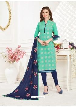 Jade Green Embroidered Designer Banarasi Jacquard Churidar Salwar Suit