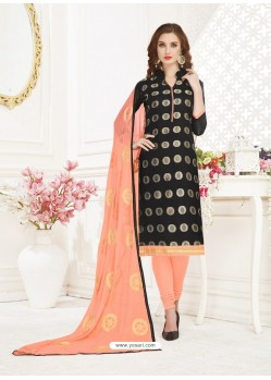 Black Embroidered Designer Banarasi Jacquard Churidar Salwar Suit