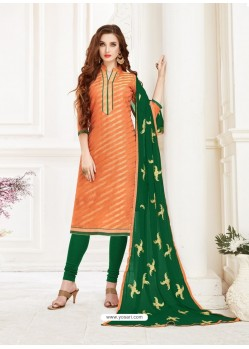 Orange Embroidered Designer Banarasi Jacquard Churidar Salwar Suit
