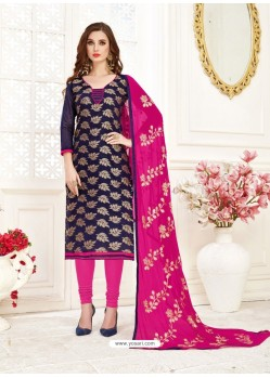 Navy Blue Embroidered Designer Banarasi Jacquard Churidar Salwar Suit