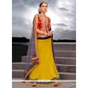 Glorious Yellow Net Designer Lehenga Choli