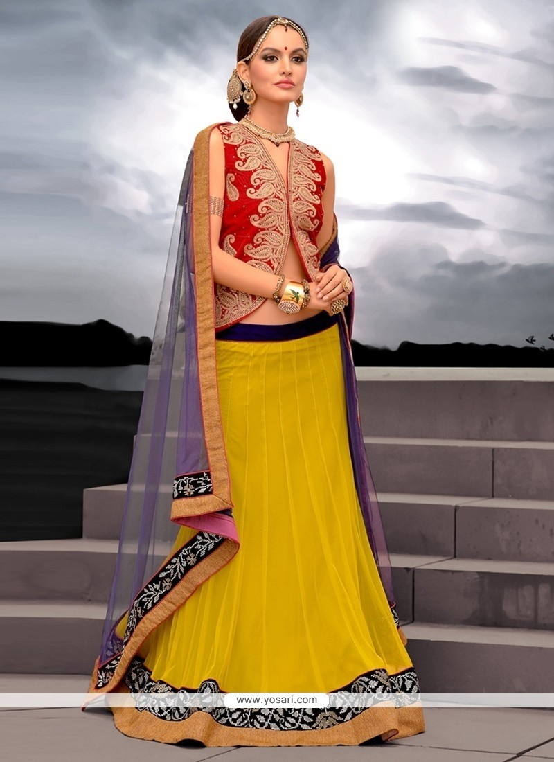 Glorious Yellow Net Designer Lehenga Choli