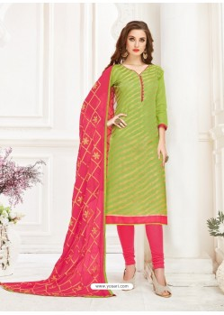 Green Embroidered Designer Banarasi Jacquard Churidar Salwar Suit