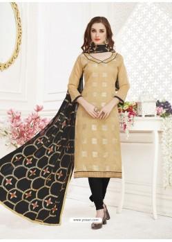 Beige Embroidered Designer Banarasi Jacquard Churidar Salwar Suit