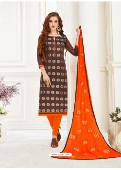 Brown Embroidered Designer Banarasi Jacquard Churidar Salwar Suit