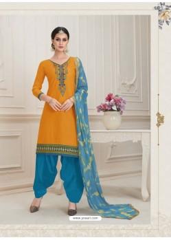 Orange Embroidered Punjabi Patiala Suits