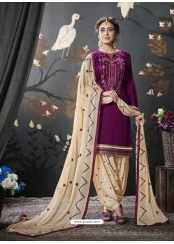 Deep Wine Designer Embroidered Punjabi Patiala Suits