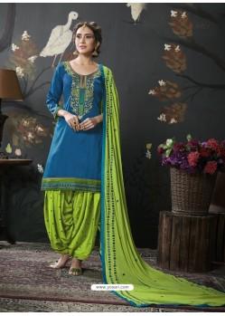 Dark Blue Designer Embroidered Punjabi Patiala Suits