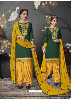 Dark Green Designer Embroidered Punjabi Patiala Suits