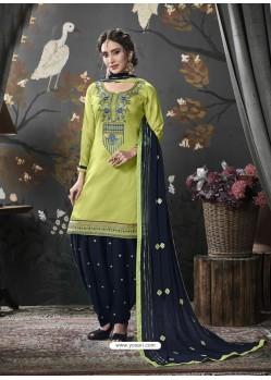 Green Designer Embroidered Punjabi Patiala Suits