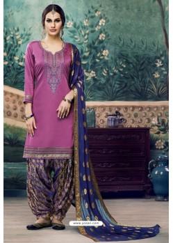 Fabulous Medium Violet Embroidered Punjabi Patiala Suits