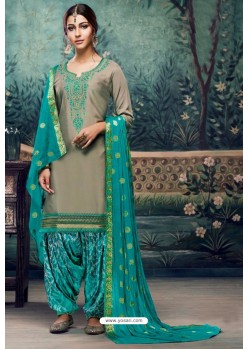 Taupe Embroidered Punjabi Patiala Suits