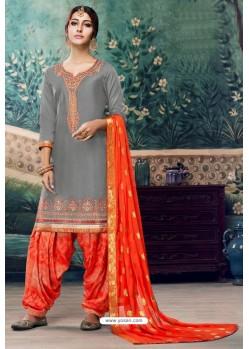 Grey Embroidered Punjabi Patiala Suits