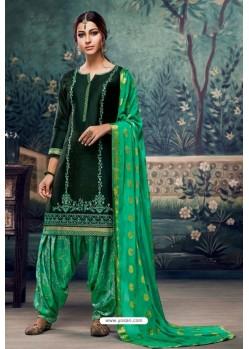 Dark Green Embroidered Punjabi Patiala Suits