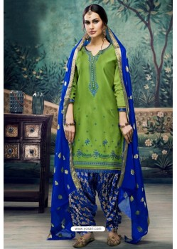 Parrot Green Embroidered Punjabi Patiala Suits