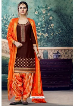 Coffee Embroidered Punjabi Patiala Suits