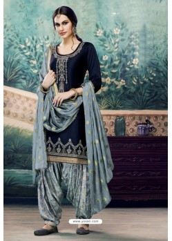 Navy Blue Embroidered Punjabi Patiala Suits