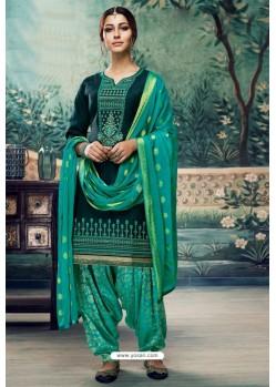 Teal Embroidered Punjabi Patiala Suits