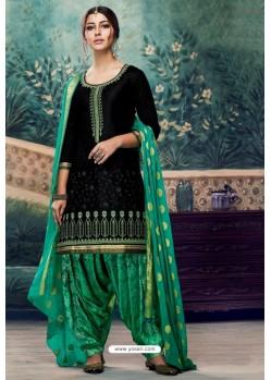 Black Embroidered Punjabi Patiala Suits