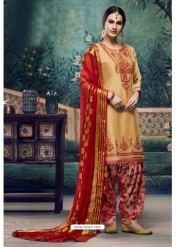 Mustard Embroidered Punjabi Patiala Suits