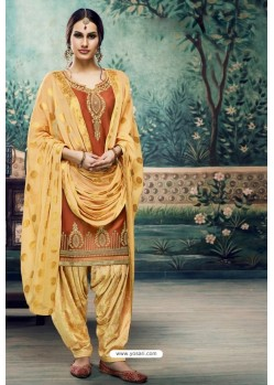 Orange Embroidered Punjabi Patiala Suits