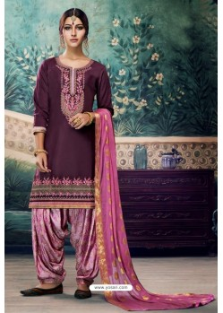 Deep Wine Embroidered Punjabi Patiala Suits