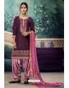 Deep Wine Embroidered Punjabi Patiala Suits