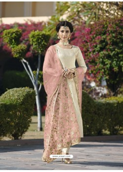 Scintillating Cream Embroidered Designer Churidar Salwar Suit