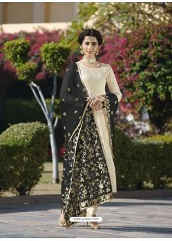 Fabulous Cream Embroidered Designer Churidar Salwar Suit