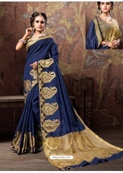 Navy Blue Heavy Embroidered Designer Cotton Silk Sari