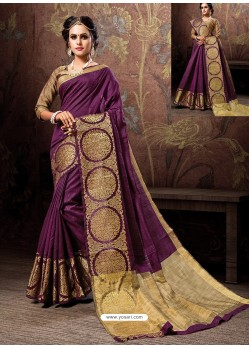 Deep Wine Heavy Embroidered Designer Cotton Silk Sari