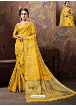 Yellow Heavy Embroidered Designer Cotton Silk Sari
