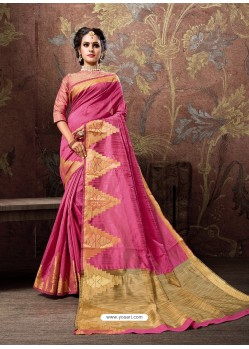 Hot Pink Heavy Embroidered Designer Cotton Silk Sari