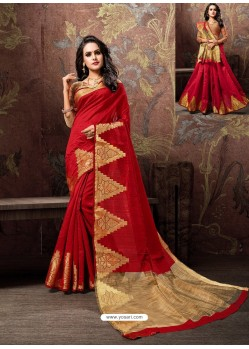 Red Heavy Embroidered Designer Cotton Silk Sari