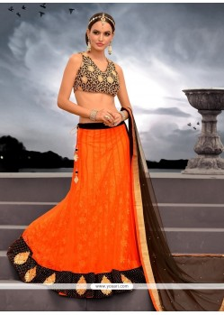 Alluring Orange Net Designer Lehenga Choli