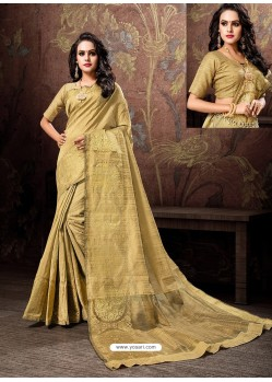 Gold Heavy Embroidered Designer Cotton Silk Sari