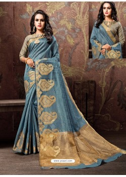 Blue Heavy Embroidered Designer Cotton Silk Sari